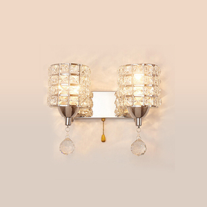 Image 5 - Sconce lamp AC85 265V pull chain switch crystal wall lamp lights Modern Stainless Steel Base lighting lamparas de pared