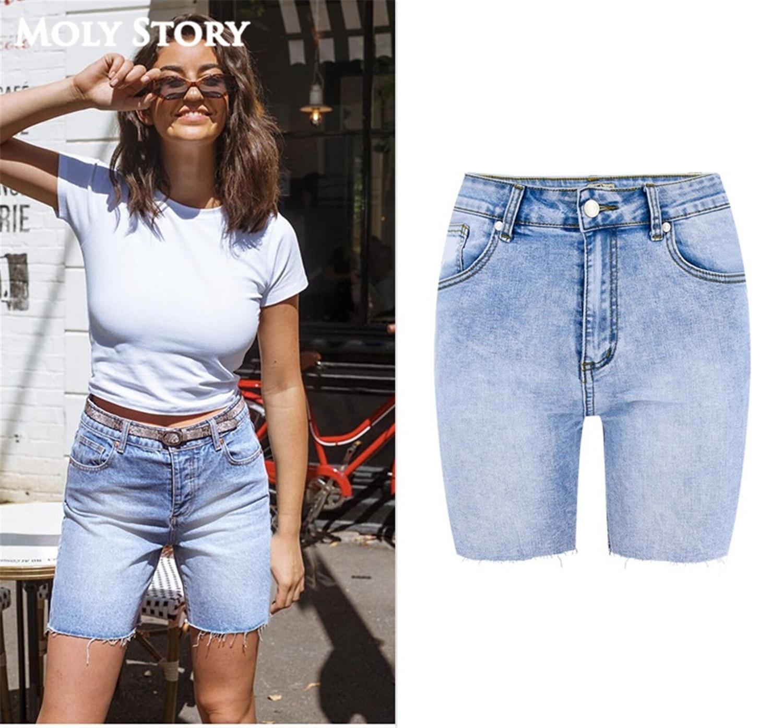 Summer New Knee Length Denim Shorts Women Hip Pop Short   Jeans   High Waist Bike   Jeans   Shorts Femme Oversized Plus Size Dnim Pants