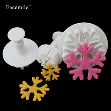 Chiratmas Snowflake Plunger Mold Cake Decorating Tool Cookie Cutter Fondant Cake Decorating Sugarcraft Cutter mold 03093 3 in 1 cake veined sunflower gerbera daisy plunger cutter