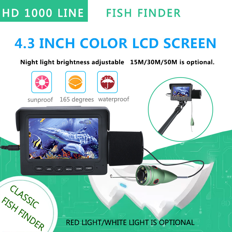 GAMWATER 15M 30M 1000TVL Fish Finder Underwater Fishing Camera 4.3 LCD Monitor 6 PCS 1W IR LEDs White LED modern cx 10 rc quadcopter spare parts blade propeller jan11