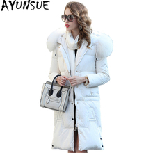AYUNSUE Real Raccoon Fur Collar Women's Down Jacket Long Warm Winter Coat Women Hooded Female Jackets casaco feminino WYQ805