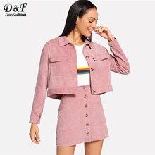 a212a7fc3 Dotfashion de pana de bolsillo superior con botón falda, conjunto de dos  piezas de las mujeres 2019 ropa de otoño Casual 2 pieza.
