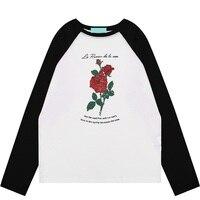 Women Long Raglan Sleeve T Shirt 2017 Winter New Flower Pattern Print Tshirt Woman Casual Floral