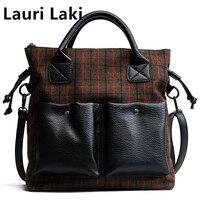 Lauri Laki Wool Casual Women Shoulder Bag Canvas Vintage Top handle Handbags Tote Big Lattice Messenger Bags Women Crossbody