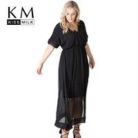 Kissmilk Czarna Sukienka Plus Size Kobiety V-Neck Krótki Rękaw Ruffles Semi Sheer Podziel Side Vestidos Kobieta Big Size De Fasta pani