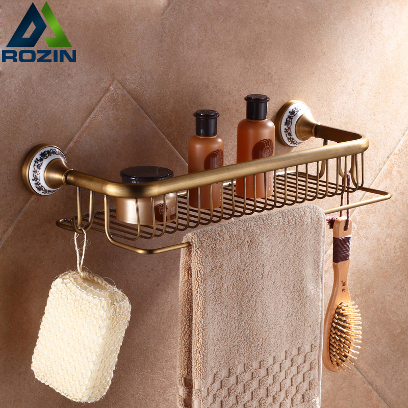 Fashion Antique Brass Bathroom Shelf Wall Mounted  Corner Shelf Basket Towel Bar with Hooks Free Shipping auswind 2 layer silver corner basket bathroom products luxury cosmetic storage bathroom shelf holder bathroom accessorie pf10