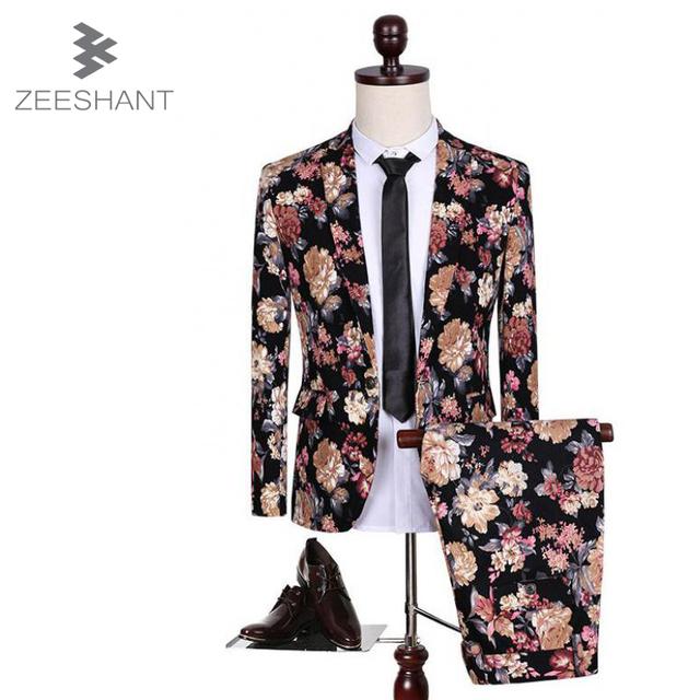 ZEESHANT (paletó + Calça) homens Ternos Slim Fit Plus Size M-5XL Mens Ternos Com Calças Casamento Mariage Homme Traje Formais Vetement