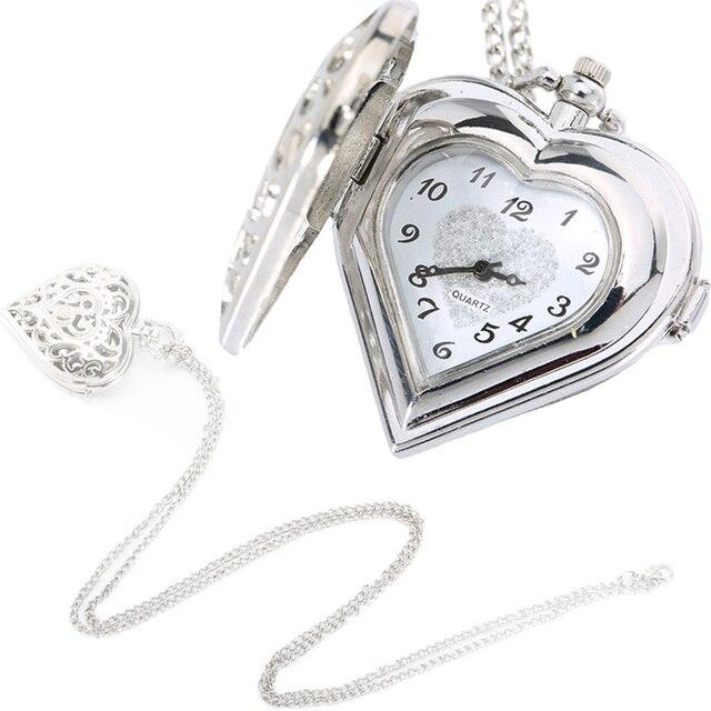 Fashion Silver Hollow Quartz Heart Shaped Pocket Watch Necklace Pendant Chain Cl