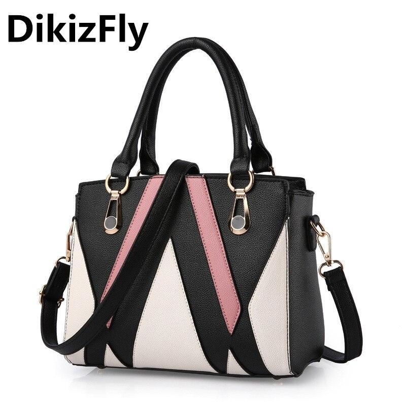DikizFly 새로운 여성 가방 고품질 PU 가죽 여성 최고 핸들 가방 브랜드 가방 여성 핸드백 브랜드 디자인 메신저 가방