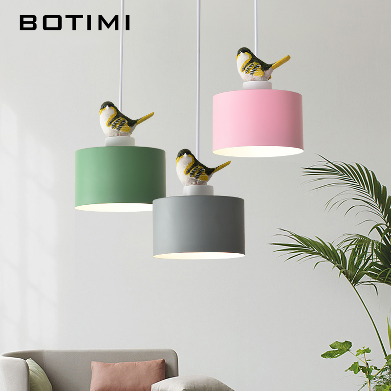 BOTIMI LED Pendant Lights With Bird For Dining Green Hanging Lamp Pink Restaurant Luminaria Gray Metal Suspension Luminaire