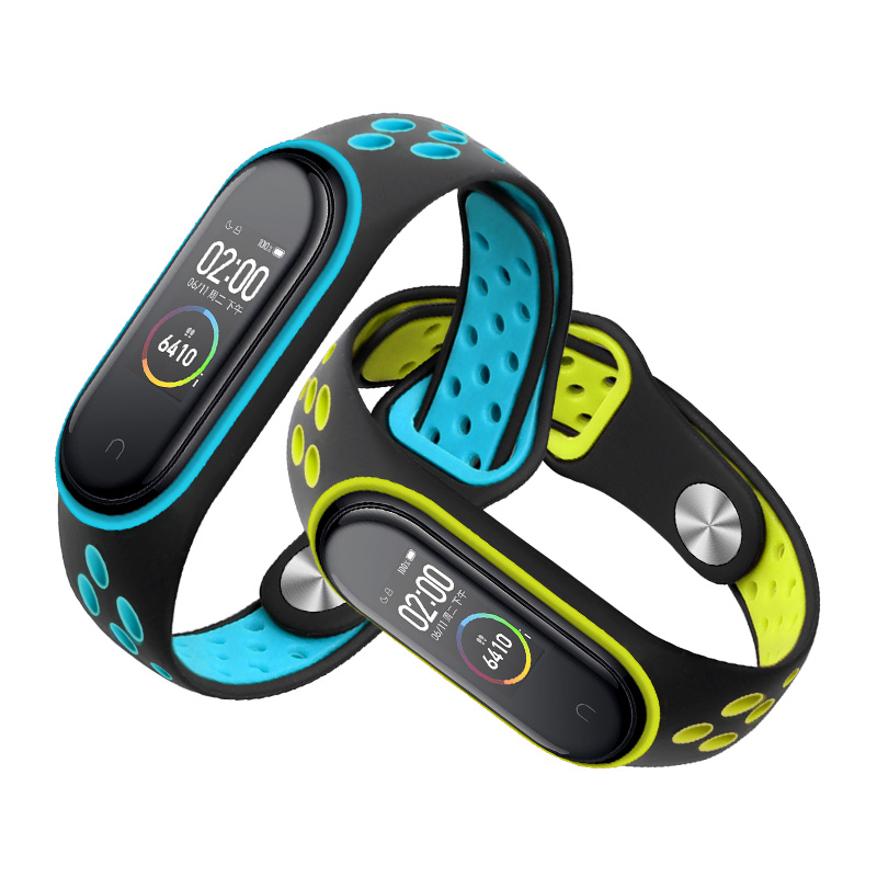Silicone Bracelet For Xiaomi Mi Band 4 Nfc Replacement Wristband Mi Band 3 Accessories Two-color Adjustable Size Mi Band 4 Strap