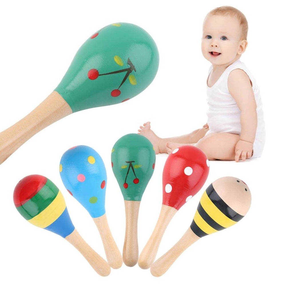 Early Education Wooden Musical Toy High Quality Sand Hammer Maraca Wood Rattles Kid Baby Shaker Toy Children's Party Favor