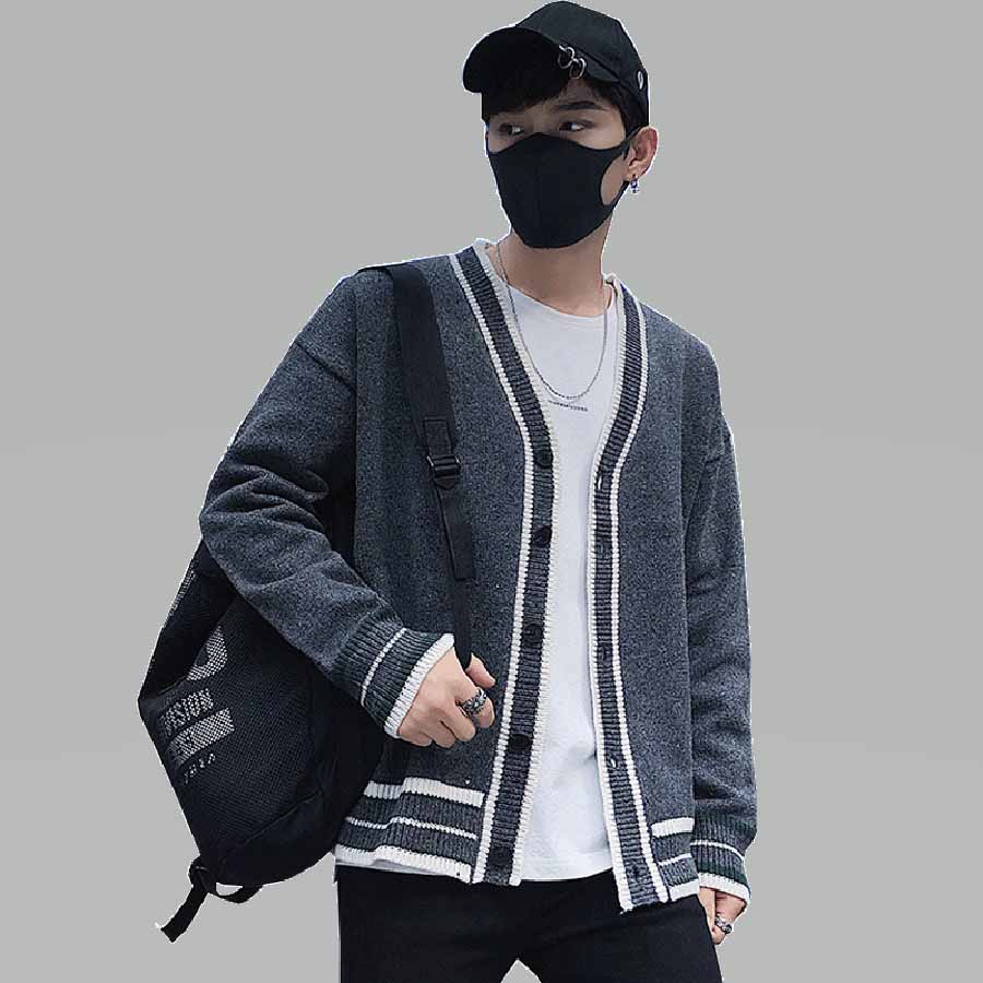 Coréen hiver chandail veste hommes Vintage bouton Long Cardigan mâle cachemire tricoté col en v épais varsité collège chandail hommes