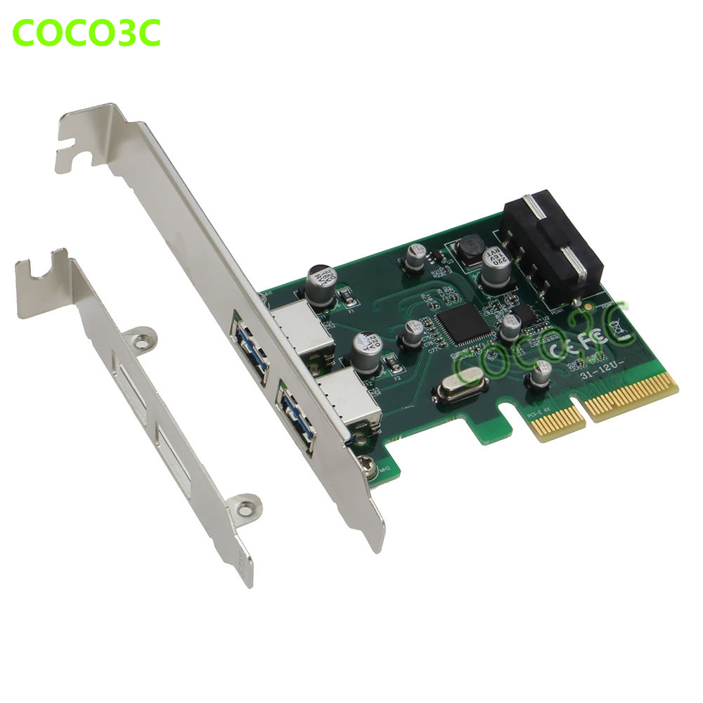 PCI-e 4x to USB3.1 Converter Adapter Superspeed 10Gbps 2 ports USB 3.1 Type-A PCI express Controller Card Compliant PCIe 8x 16x