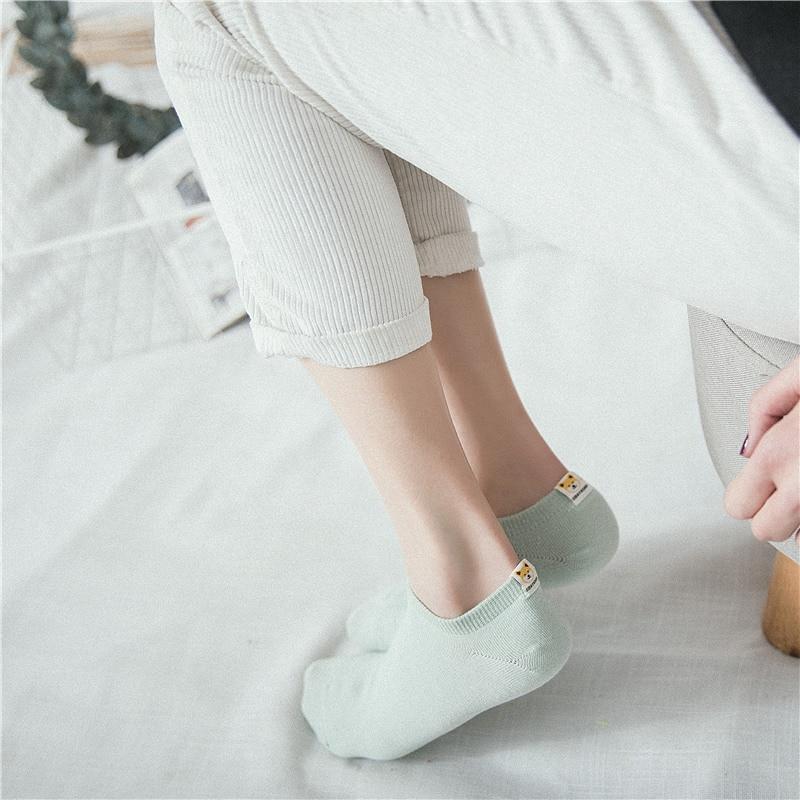 New Women Socks 5pair Short School Style Cotton Solid Color Cute Animal Cartoon Women Fashion Ankle Socks For Women Style