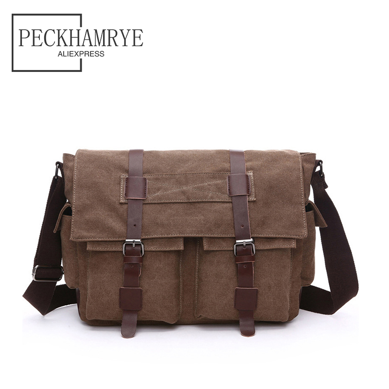 2018 New Fashion Canvas Pu Leather Crossbody Bag Men Military Army Vintage Messenger Bags Large Shoulder Bag Travel Bags canvas leather crossbody bag men briefcase military army vintage messenger bags shoulder bag casual travel bags