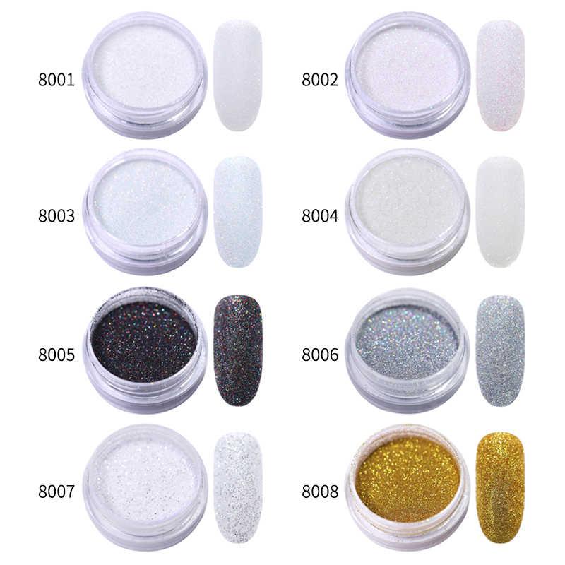 1 グラム/箱シャイニング砂糖グリッターネイルパウダー黒、白スライバーグリッターダストパウダーネイルアートの装飾 8 色マニキュア