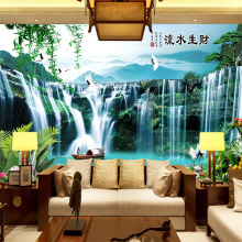 Customized large mural wallpaper 3D Chinese style landscape with waterfall boat behind TV sofa as background in room