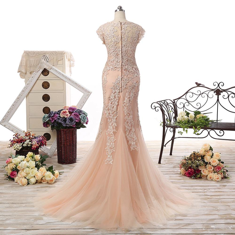 Champagne V- Neck Cap Sleeves Vintage A- Line Long Wedding Dress