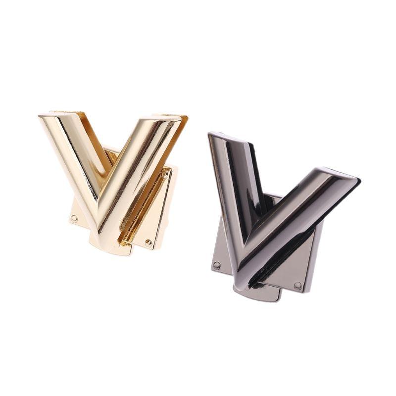 V Shape Clasp Turn Locks Twist Lock Metal Hardware For DIY Handbag Shoulder Bag Purse