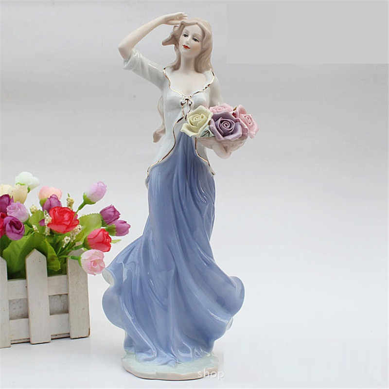 High Grade Statue Ceramic Goddess Girls Lady Figurines Home Decor Crafts Room Decor Wedding Handicraft Ornament Porcelain R770