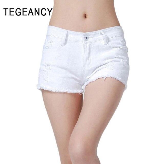Women Denim Shorts Summer Hot Scanties Ripped Hole Low Waist CutOff Sexy Shorts Feminino Plus Size Skinny Female Pink Shorts
