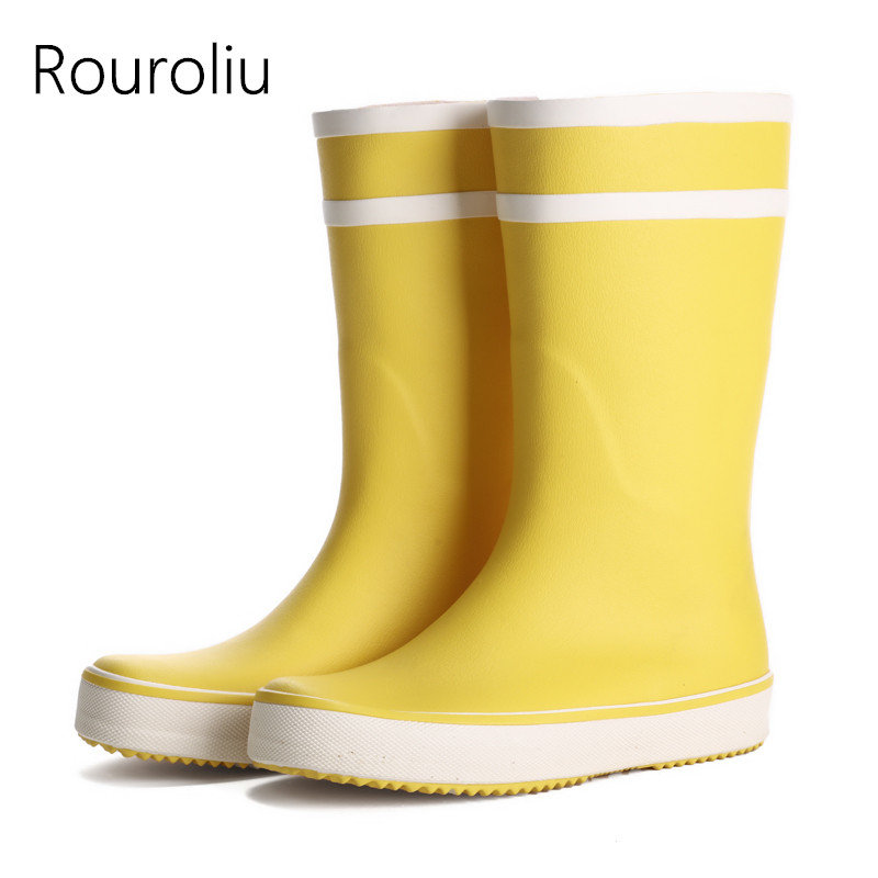 New Arrivals Women Fashion Rubber Rain Boots Flat Heels Mid Calf Rainboots Waterproof Woman