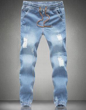 MOGU новые Джоггеры мужские длинные джинсы с отворотами плюс размер 5XL джинсы с эластичной талией мужские светло-голубые рваные джинсы для мужчин - Цвет: light blue
