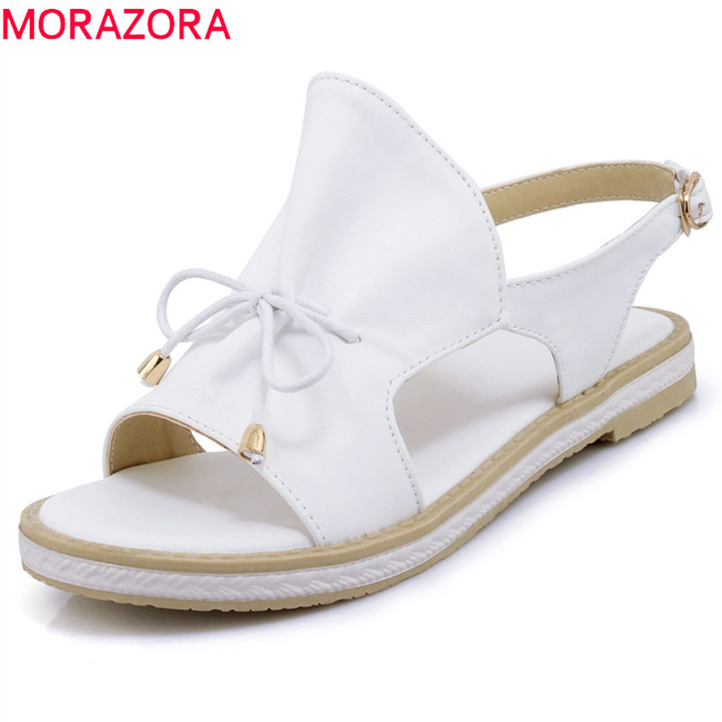 MORAZORA 2018 big size 34-44 new style simple buckle solid summer shoes elegant peep toe casual shoes comfortable flat sandals discount 2018 fashion leather casual flat shoes women sandals summer shoes flat hollow comfortable breathable size 34 44