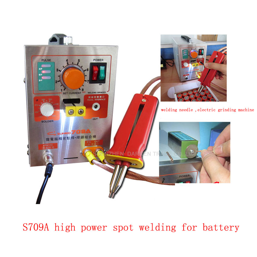 1pc1 9kw LED Pulse Battery Spot Welder 709A with Soldering Iron Station Spot Welding Machine for