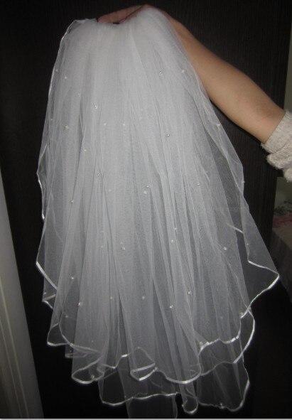 в наличие дешевая горячая продажа три слоя лента края свадебная вуаль с жемчугом белая кремовая 3 слоя свадебная фата 2017