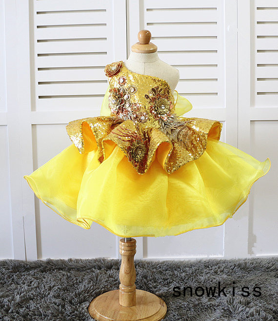 Gold Bling sequins flowe girl dresses Glitz Pageant one shoulder floral infant baby 1 year birthday party dress kids tutu gown