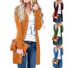 Модная женская верхняя одежда с длинным рукавом на кнопках, однотонный вязаный кардиган в рубчик, пальто, женские повседневные куртки, топы