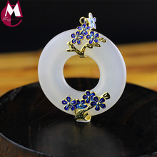 44MM Round Gemstone White Jade Pendant Enamel Gold Color Flower Fine Jewelry Genuine 925 Sterling Silver Necklade Hot Sale