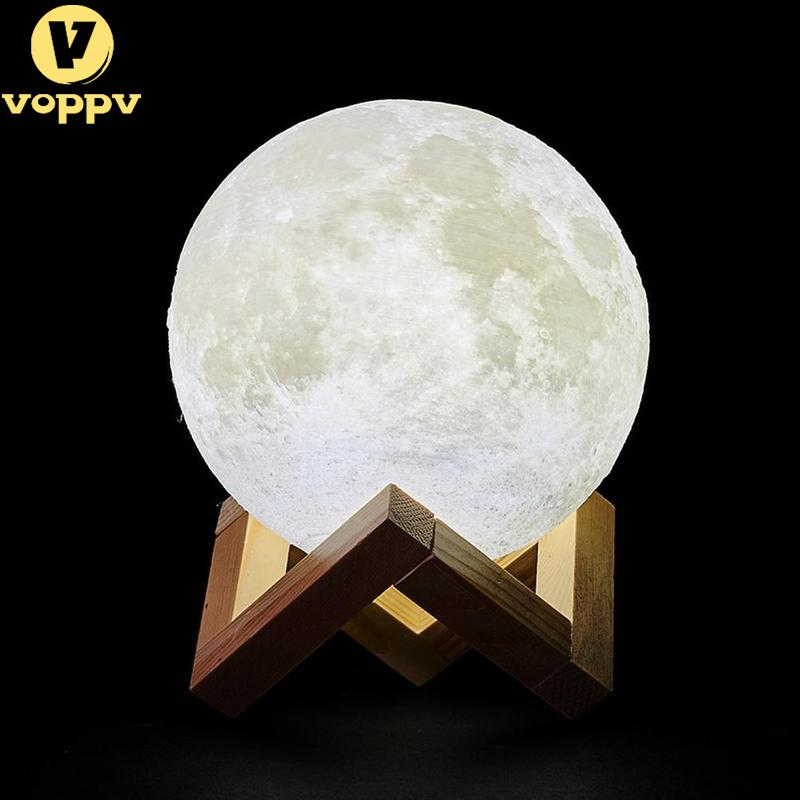 VOPPV 3D Print Moon Lamp Rechargeable 16/2 Color Change Touch Switch Bedroom Night Light Lunar Dimmable Baby Nightlight Home