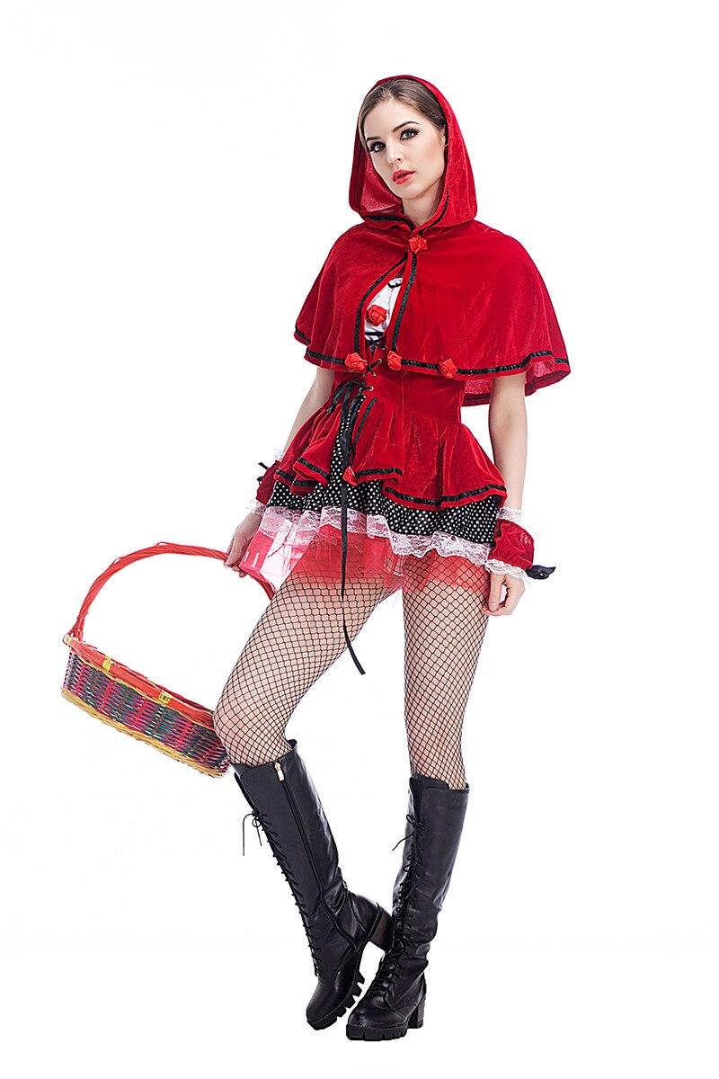 7a246c317 Mujer adulta Halloween Little Red Riding capa con capucha sexy vestido de traje  rojo de lujo Cosplay robe vestido traje para Niñas en Disfraces de cine de  ...
