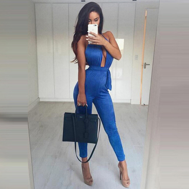 Sexy Bodysuit Women Backless Sleeveless Clubwear Party Bandage Long Jumpsuits Rompers 2016