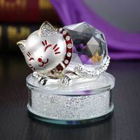 1 pcs Modern Home Decoration Metal Crystal Cat Mascot Crafts Miniature Glass Souvenirs Animal Statue Lucky Cat Crystal Figurines