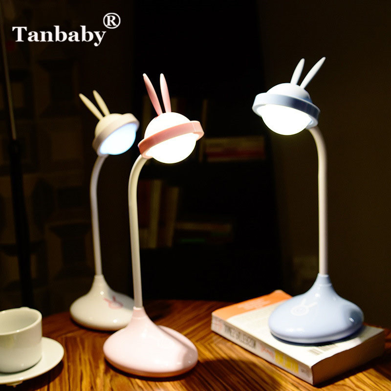 Tanbaby USB Charging Cute Rabbit Desk Lamp LED Dimming Novelty Night Light for Book Reading Study Children Sleeping(White light) white rotating rechargeable led talbe lamp usb micro charging eye protection night light dimmerable bedsides luminaria de mesa