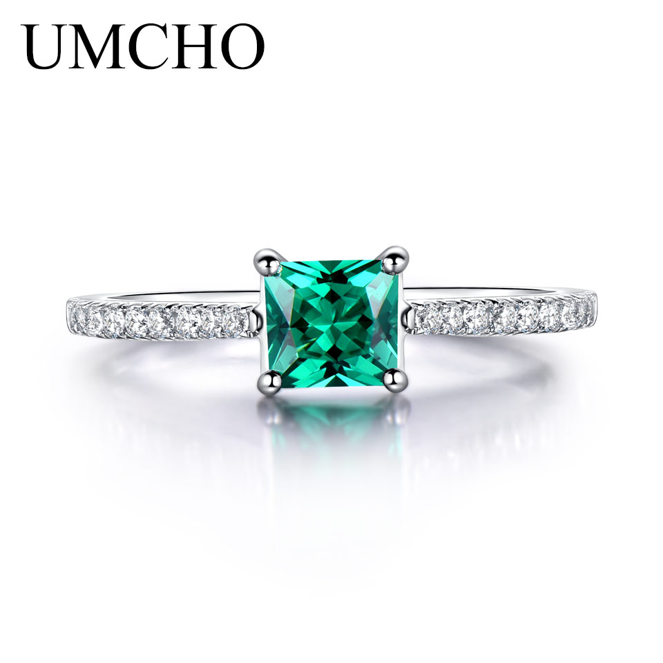 UMCHO Green Nano Emerald Ring Äkta Solid 925 Sterling Silver Fashion - Fina smycken - Foto 4