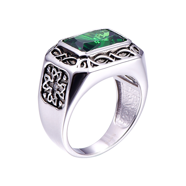 Bonlavie Fine 6.8Ct Nano Russian Emerald Men Ring  Solid 925 Sterling Sliver Jewelry Engagement Wedding Ring For Men Size 6-14 1