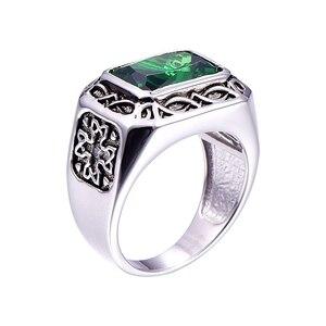 Image 2 - BONLAVIE בסדר 6.8Ct ננו רוסית אמרלד גברים טבעת מוצק 925 סטרלינג רסיס תכשיטי אירוסין חתונה טבעת לגברים גודל 6 14