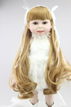 Free shipping 2018 new design high quality american 18 inch girl doll full vinyl Collectible smiling Baby Toys with long hair