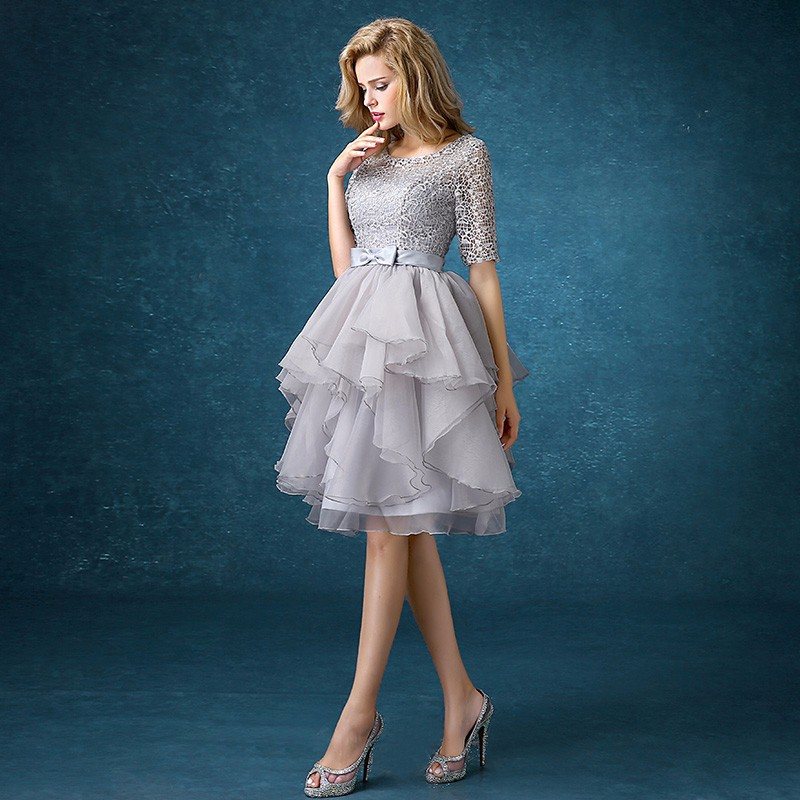 drnwof Half Sleeve Grey Bridesmaid Dresses 2017 New Free Shipping Party Prom Back Lace up women dress 2