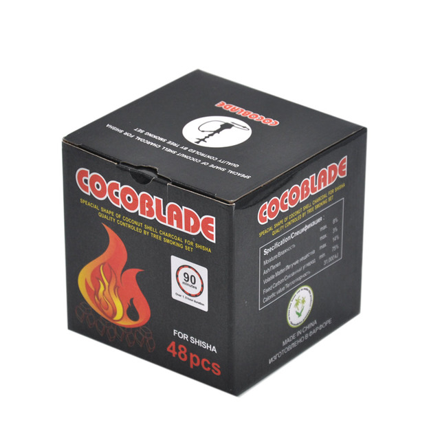 48pcs/Box Cocoblade Coconut Shell Charcoal for Shisha Hookah Cocoblade for Charcoal HolderKelaoke Coal Bowl Charcoal Heater