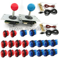 2 Players DIY Arcade Joysticks LED Illuminated Buttons DIY Joystick Parts For MAME With LED Buttons+ 2 Joysticks+2 USB Encoder