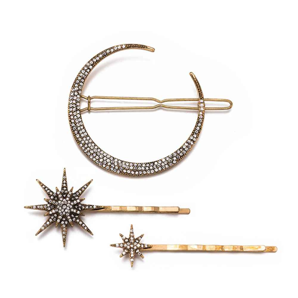 3pcs/set Fashion Geometric Star Moon Rhinestone Jewelry Hairpin Hairclip Elegant Cute Hair Styling Tools Hair Accessories