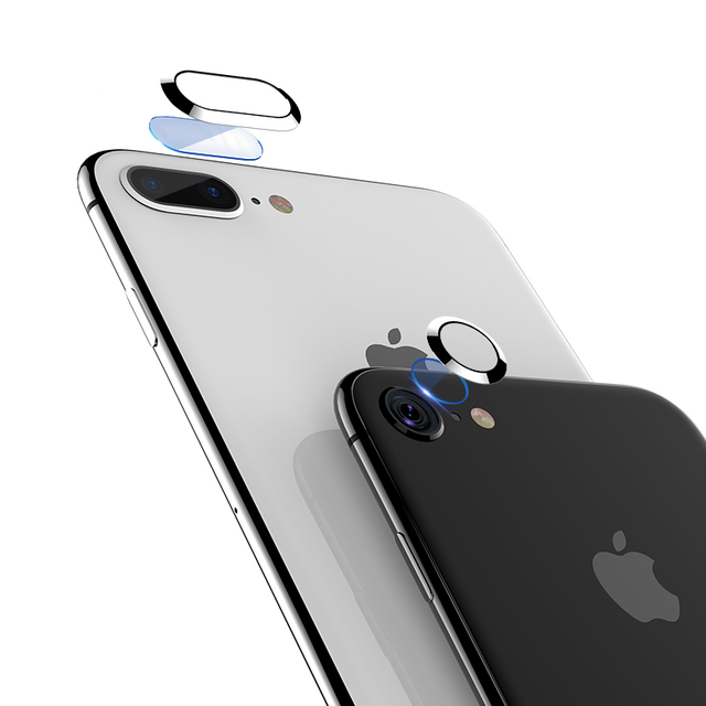 los angeles 3afa1 27af7 Oppselve Camera Lens Screen Protector For iPhone 8 7 Plus Transparent  Tempered Glass+Metal Rear Lens Protective Ring For iPhone7