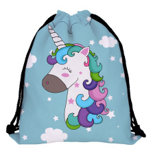 New Fashion Women Unicorn Backpack 3D Printing Travel Softback Women Mochila Drawstring Bag School Girls Backpacks
