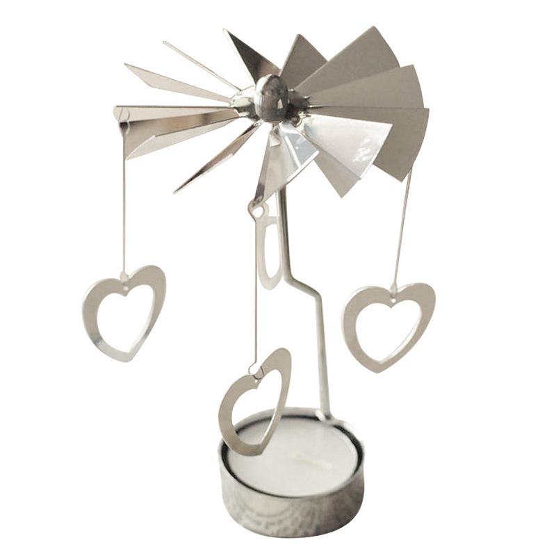 Best Spinning Rotary Metal Carousel Tea Light Candle Holder Stand Light Xmas Gift(Love)